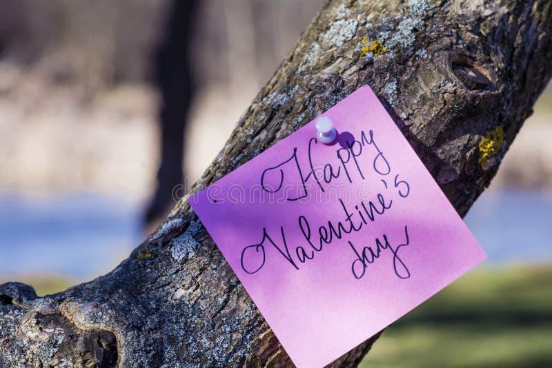 Cartolina d'auguri FELICE di rosa di giorno di biglietti di S. Valentino che appende su un albero fotografia stock