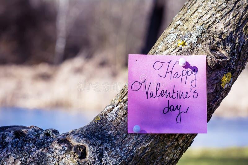 Cartolina d'auguri FELICE di rosa di giorno di biglietti di S. Valentino che appende su un albero fotografie stock