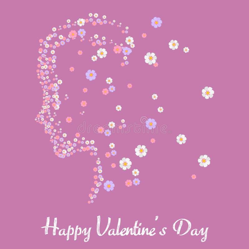 Cartolina d'auguri felice di San Valentino con il fronte della ragazza fiorita Vettore illustrazione vettoriale