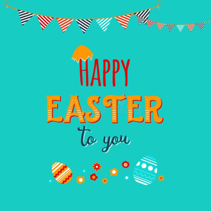 Cartolina d'auguri felice variopinta di Pasqua con i fiori e le uova Invito sveglio decorato royalty illustrazione gratis