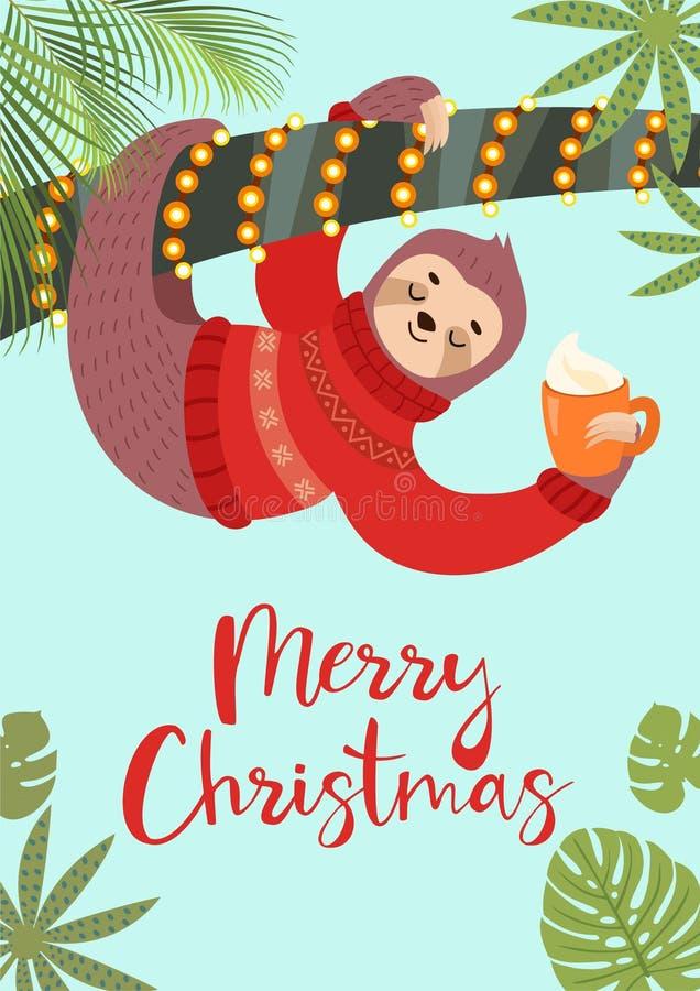Cartolina d'auguri festiva divertente con un bradipo sveglio Illustrazione di vettore Manifesto tropicale di Natale illustrazione di stock