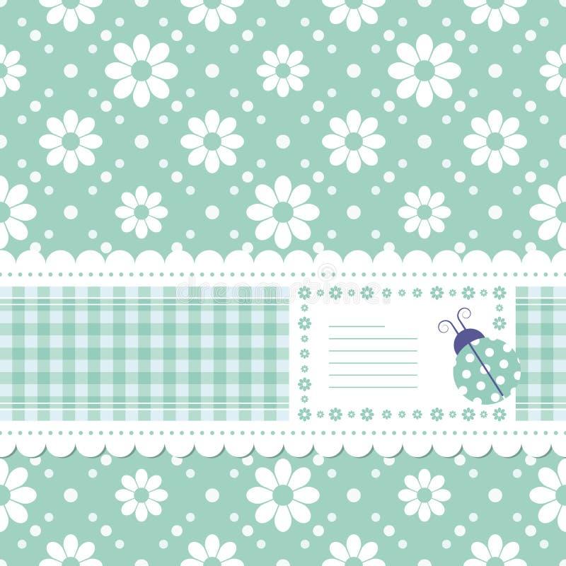 Cartolina d'auguri fiorita verde illustrazione di stock