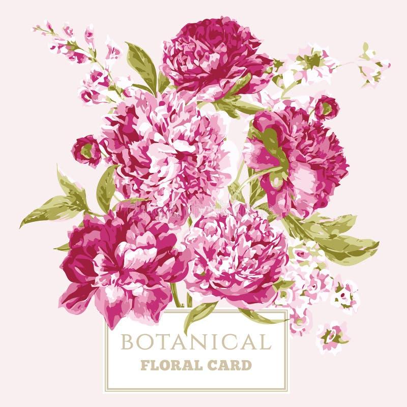 Cartolina d'auguri floreale d'annata con le peonie di fioritura royalty illustrazione gratis