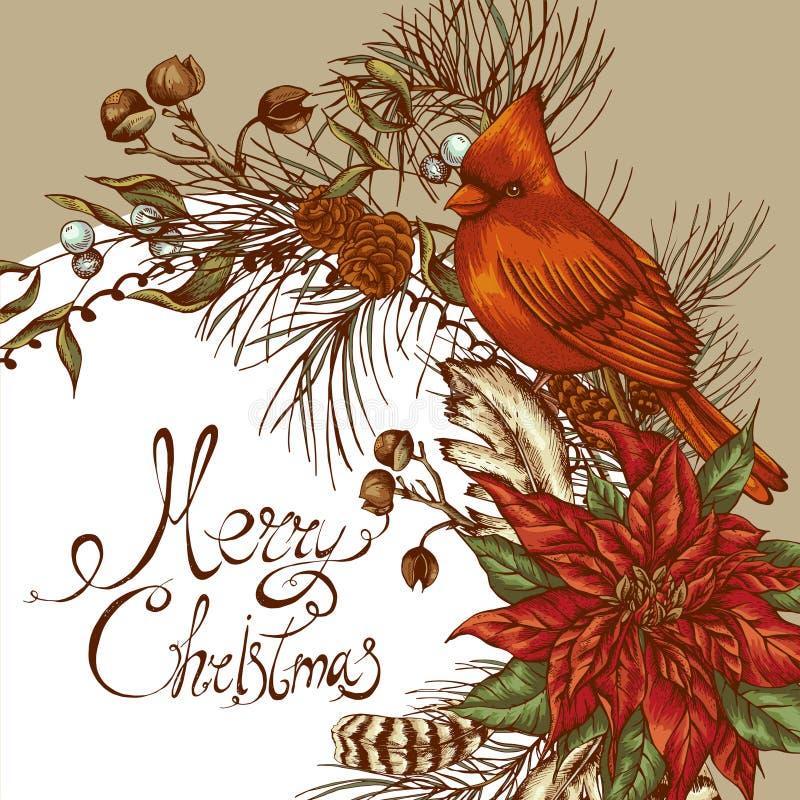 Cartolina d'auguri floreale d'annata di Natale royalty illustrazione gratis