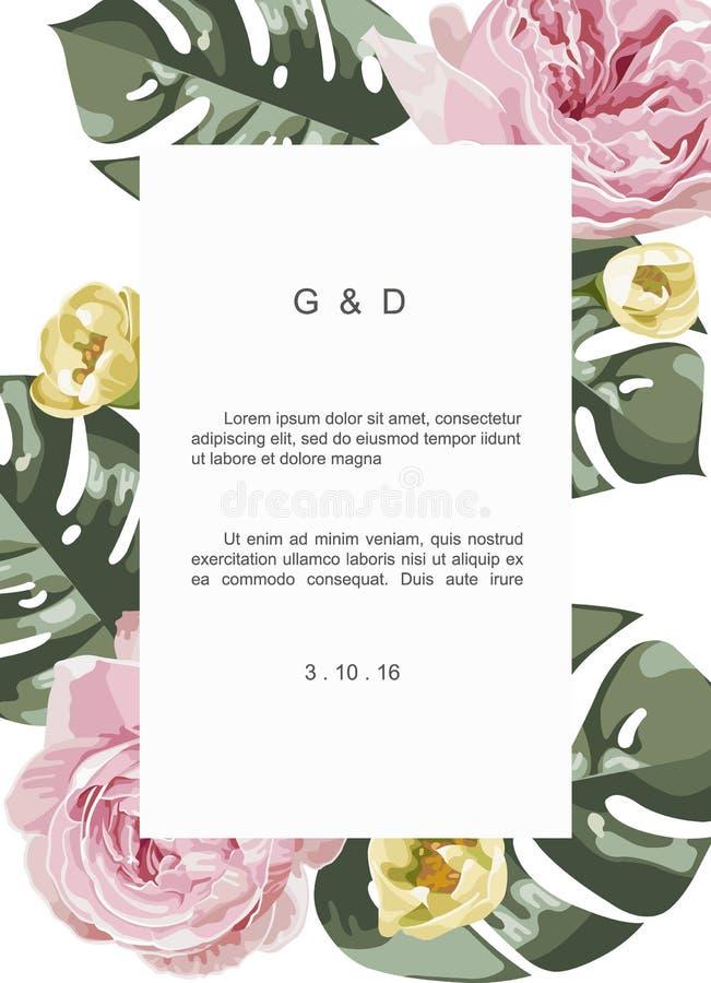 Cartolina d'auguri floreale d'annata e lussuosa con i fiori in giardino e nell'etichetta di rettangolo illustrazione di stock