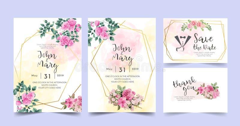 Cartolina d'auguri floreale dell'invito di nozze della composizione nell'acquerello illustrazione vettoriale