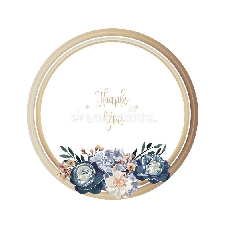 Cartolina d'auguri floreale di lusso blu con i fiori bianchi, verdi e porpora su fondo bianco e sulla struttura di legno del cerc royalty illustrazione gratis