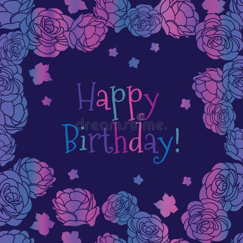 Cartolina d'auguri floreale ditsy di vettore di buon compleanno del roseto porpora di rosa illustrazione vettoriale