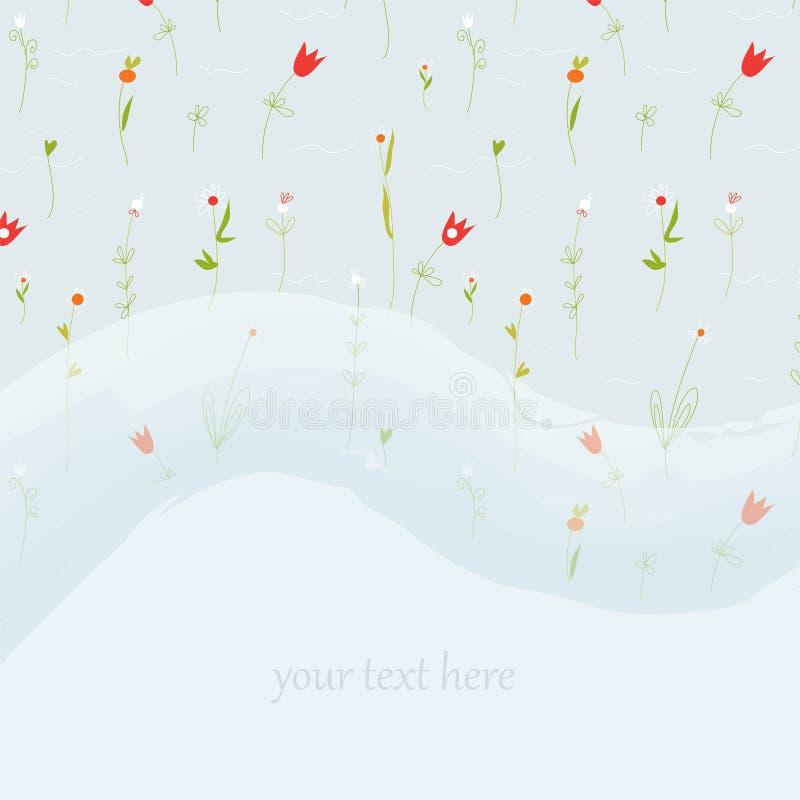 Cartolina d'auguri floreale elegante per nozze o il compleanno con lo spazio della copia royalty illustrazione gratis