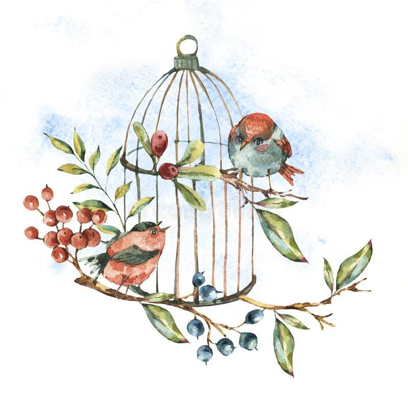 Cartolina d'auguri floreale naturale dell'acquerello sveglio con gli uccelli illustrazione vettoriale