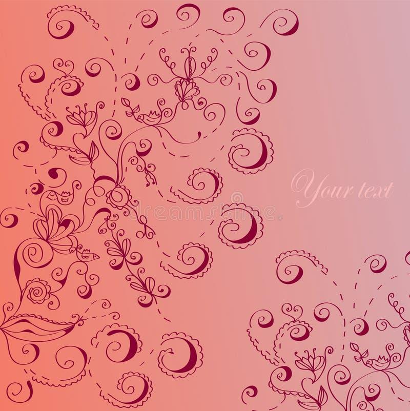 Cartolina d'auguri floreale nel colore rosa illustrazione vettoriale
