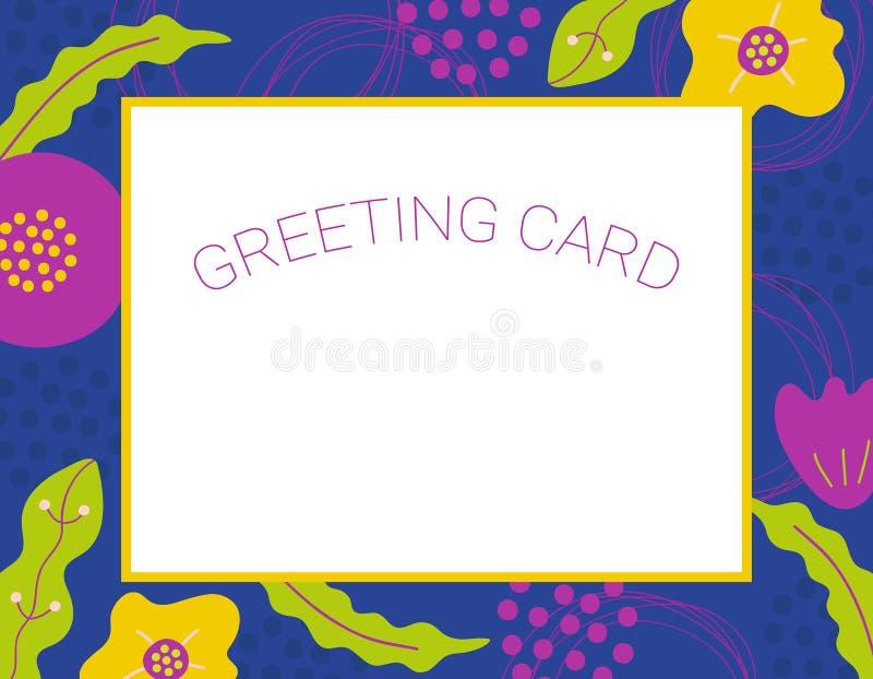 Cartolina d'auguri floreale semplice con i fiori disegnati a mano astratti royalty illustrazione gratis