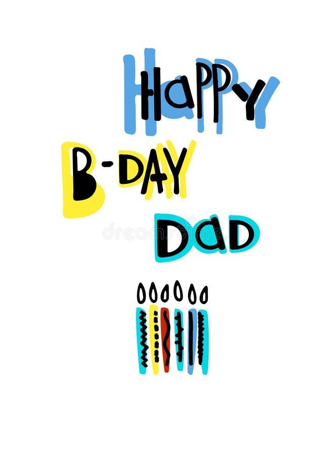 Cartolina d'auguri fresca di compleanno per un papà iscrizione e candele stile fumetto su fondo bianco illustrazione di stock