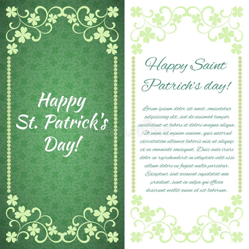 Cartolina d'auguri Giorno felice del ` s di St Patrick! C'è un posto per testo illustrazione vettoriale