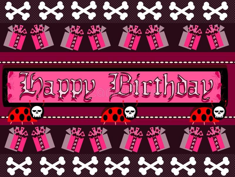 Cartolina d'auguri gotica di buon compleanno illustrazione vettoriale