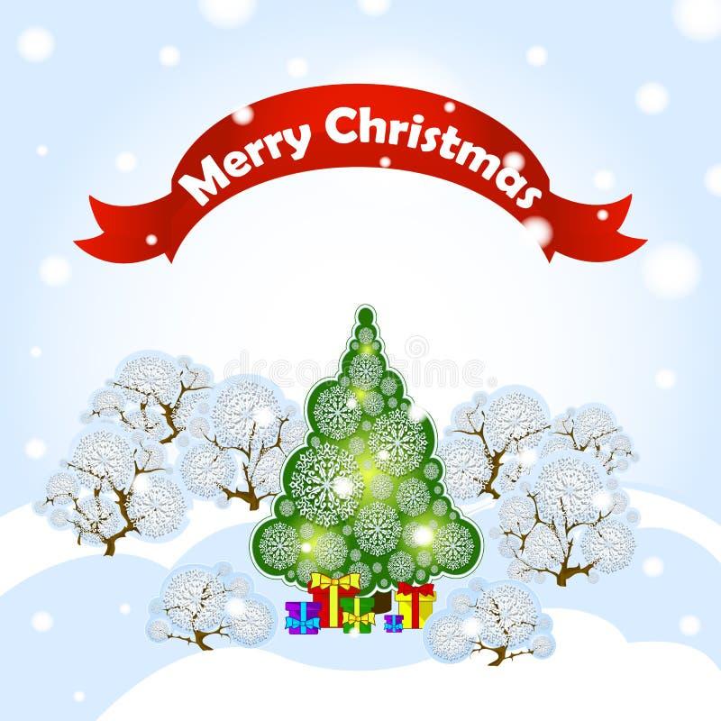 Cartolina d'auguri Illustrazione di festa di vettore con l'albero di Natale del paesaggio della foresta di inverno, i cumuli di n royalty illustrazione gratis