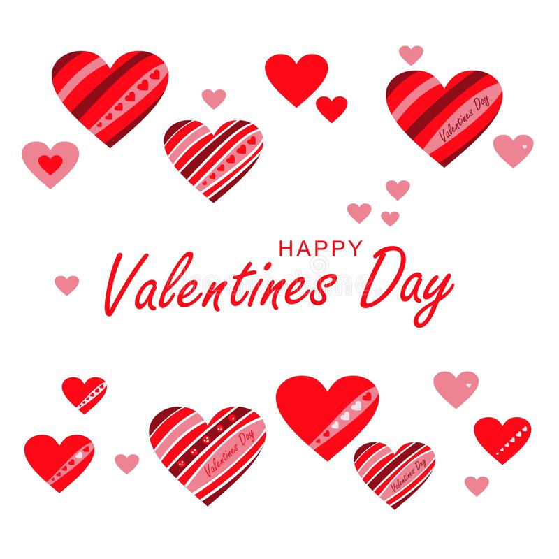 Cartolina d'auguri, insegna Cuori rossi e rosa di amore immagine stock