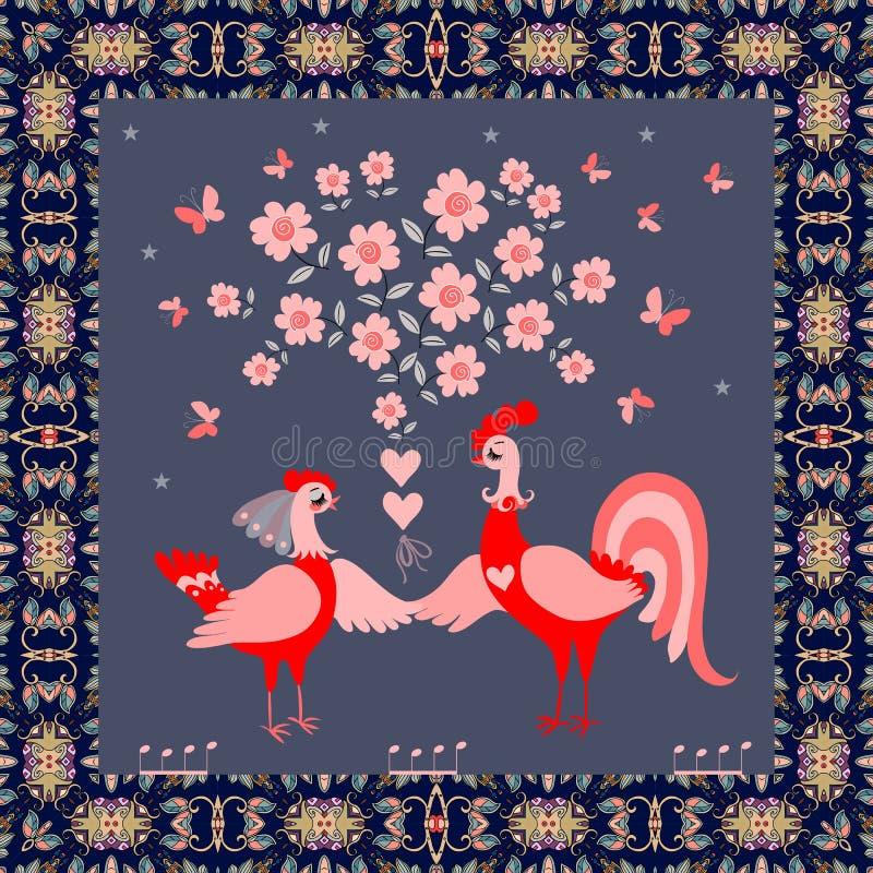 Cartolina d'auguri, invito di nozze o bello tappeto quadrato con il pollo ed il gallo divertenti svegli illustrazione vettoriale