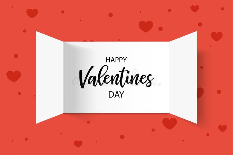 Cartolina d'auguri Iscrizione felice del giorno del biglietto di S Apertura di Advent Calendar Doors con il cuore Illustrazione d illustrazione vettoriale