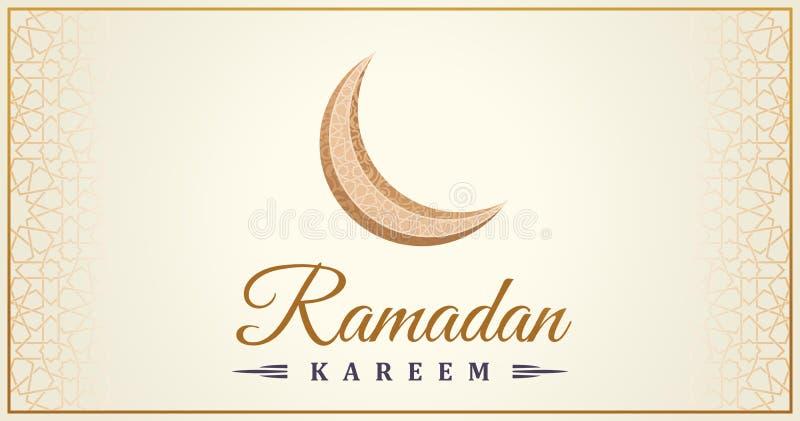 Cartolina d'auguri islamica di Ramadan Kareem Linea orientale moschea di progettazione con il modello arabo royalty illustrazione gratis