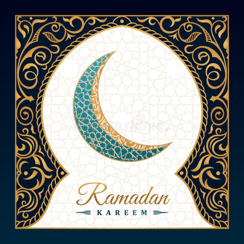 Cartolina d'auguri islamica di Ramadan Kareem Linea orientale moschea di progettazione con il modello arabo illustrazione di stock