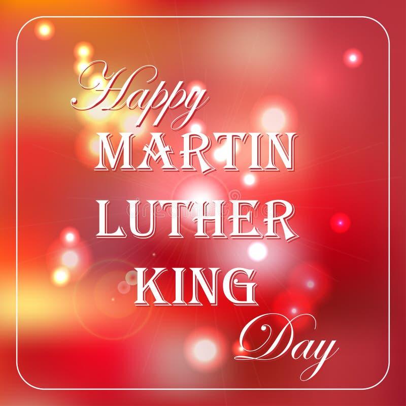 Cartolina d'auguri libera felice di tipografia di Martin Luther King Day con il fondo rosso del bokeh illustrazione di stock