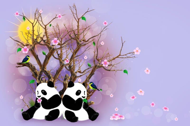 Cartolina d'auguri lilla con i panda illustrazione vettoriale