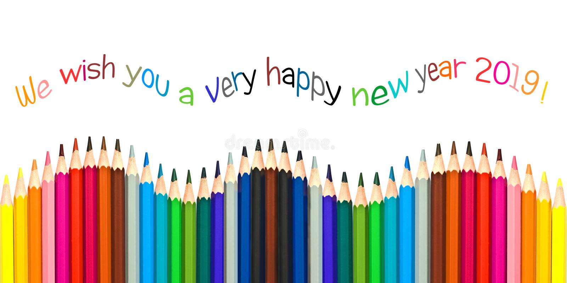Cartolina d'auguri 2019, matite variopinte del buon anno isolate su bianco royalty illustrazione gratis