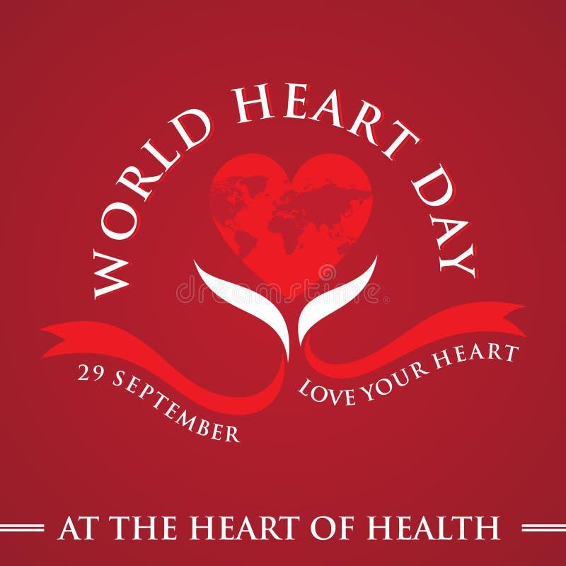 Cartolina d'auguri medica di medico del mondo del centro di giorno del cuore del mondo con cuore ed il nastro grafici royalty illustrazione gratis