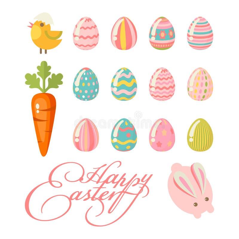Cartolina d'auguri moderna felice di Pasqua nei colori pastelli con le uova variopinte ed il coniglietto royalty illustrazione gratis