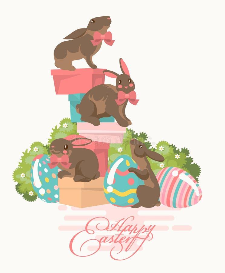 Cartolina d'auguri moderna felice di Pasqua nei colori pastelli con le uova variopinte, i fiori della molla ed il coniglietto del illustrazione vettoriale