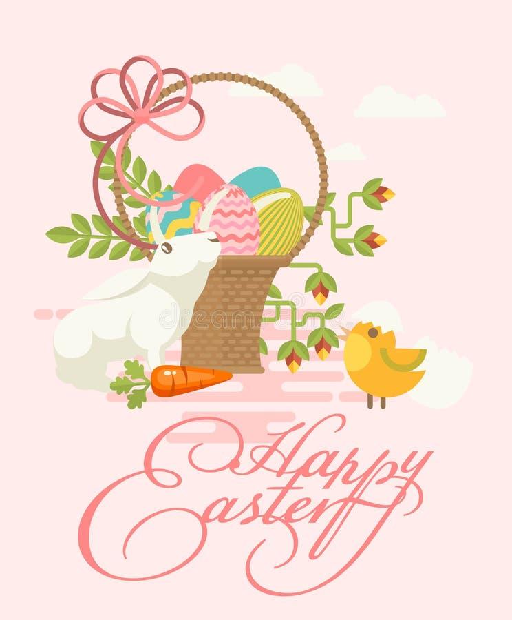 Cartolina d'auguri moderna felice di Pasqua nei colori pastelli con le uova variopinte, i fiori della molla, il pollo ed il conig illustrazione vettoriale