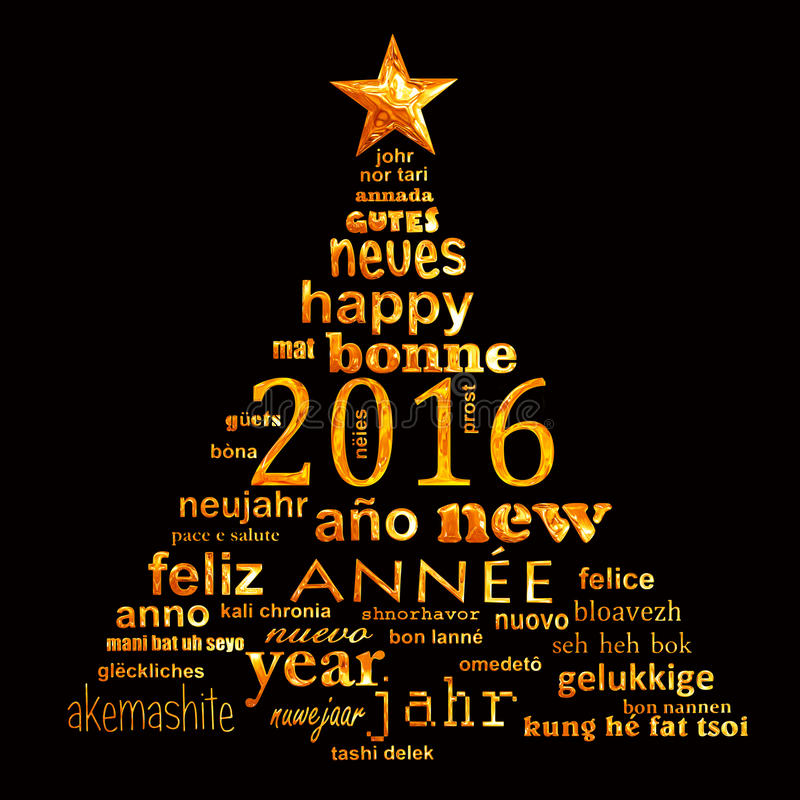 cartolina d'auguri multilingue della nuvola di parola del testo da 2016 nuovi anni illustrazione vettoriale