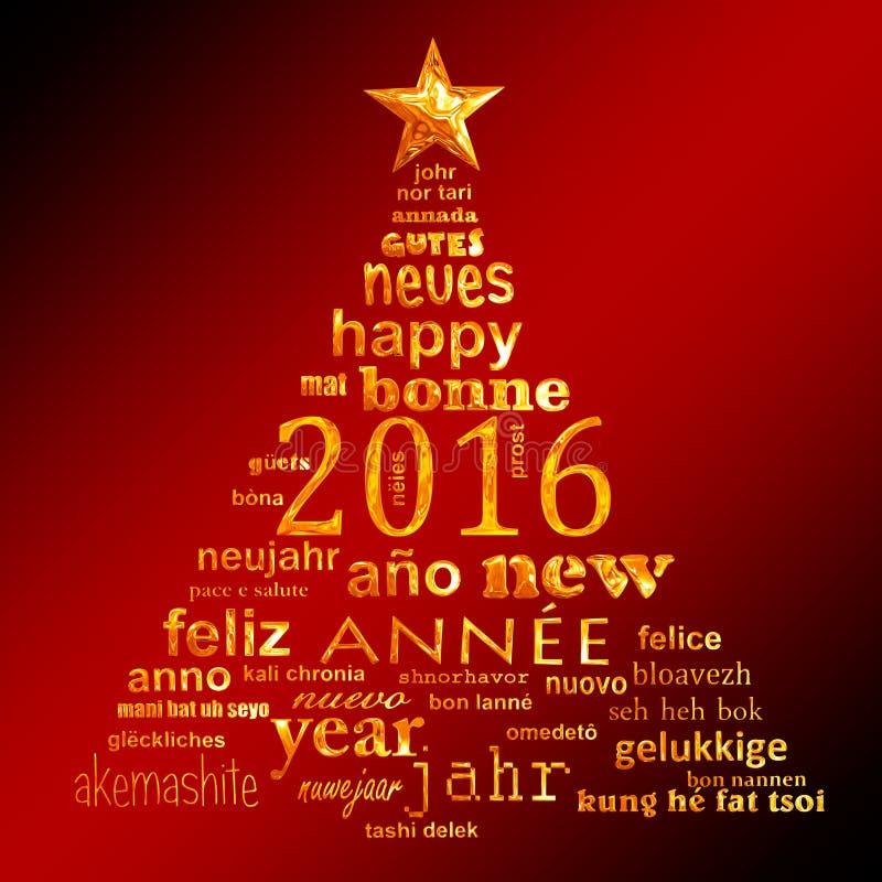 cartolina d'auguri multilingue della nuvola di parola del testo da 2016 nuovi anni illustrazione di stock