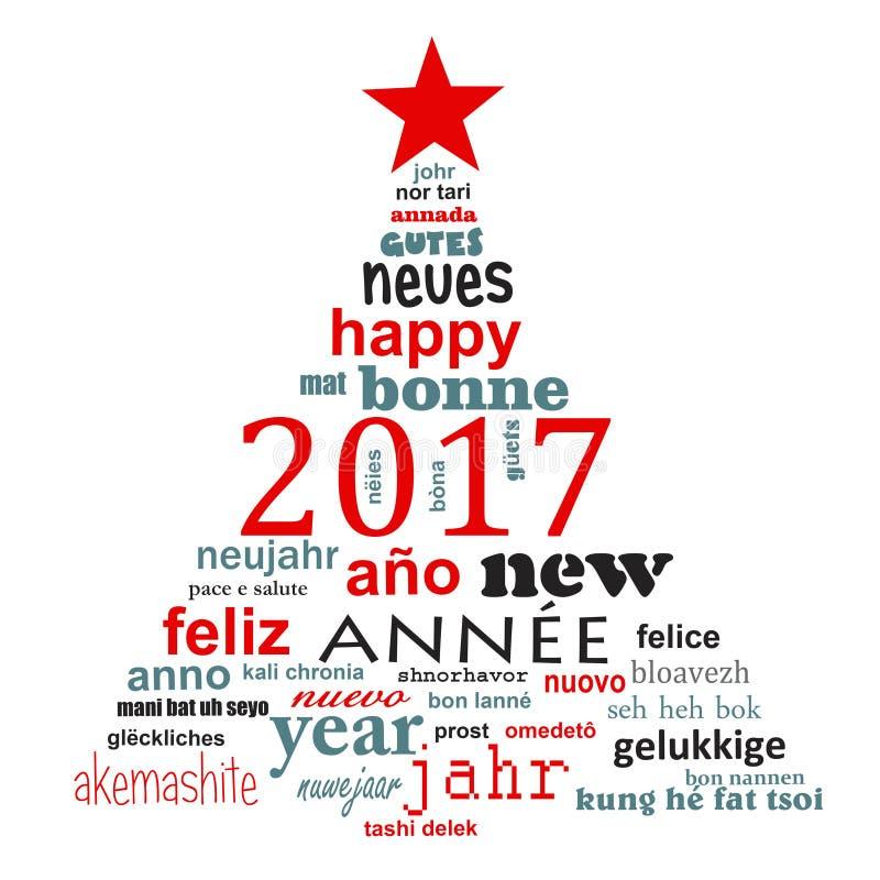 cartolina d'auguri multilingue della nuvola di parola del testo da 2017 nuovi anni, forma di un albero di Natale illustrazione di stock