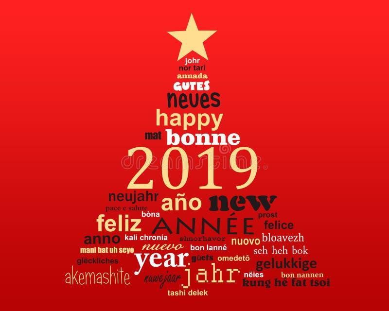 cartolina d'auguri multilingue della nuvola di parola del testo da 2019 nuovi anni nella forma di un albero di Natale illustrazione di stock