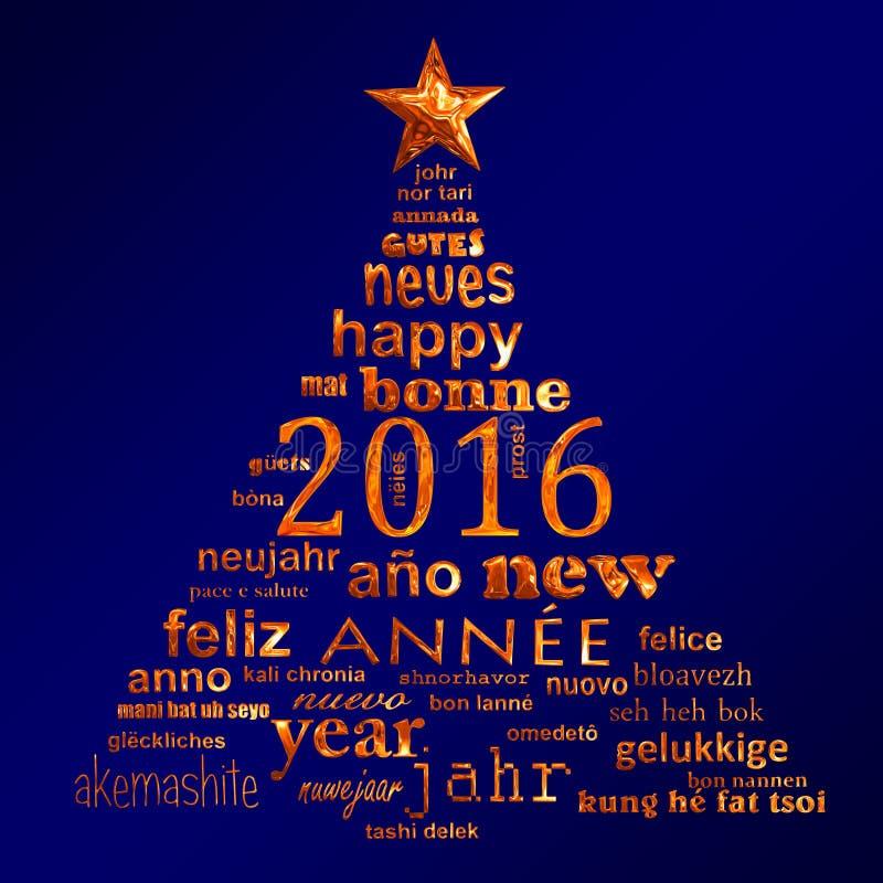 cartolina d'auguri multilingue della nuvola di parola del testo da 2016 nuovi anni sotto forma di un albero di Natale illustrazione di stock