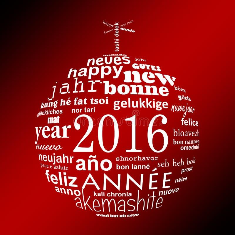 cartolina d'auguri multilingue della nuvola di parola del testo da 2016 nuovi anni sotto forma di una palla di natale royalty illustrazione gratis