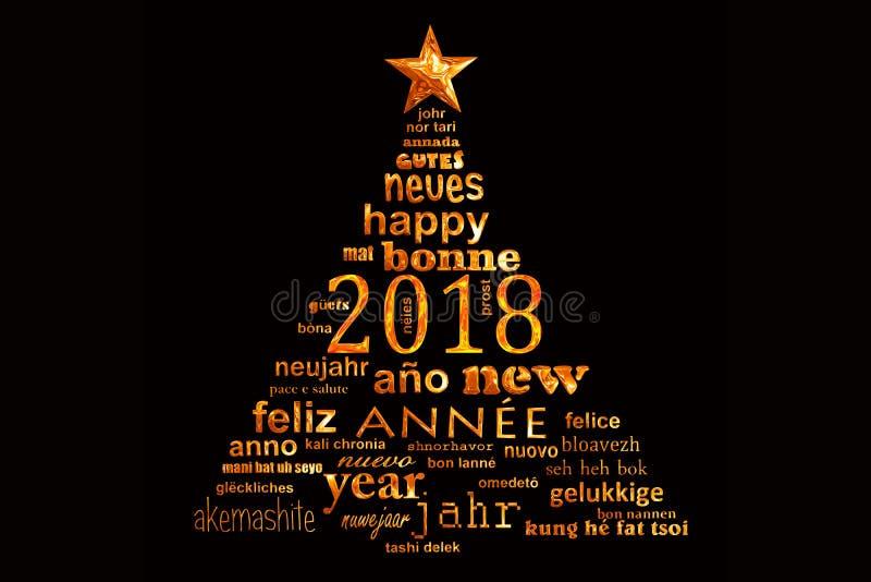 cartolina d'auguri multilingue della nuvola di parola di 2018 nuovi anni sotto forma di un albero di Natale royalty illustrazione gratis