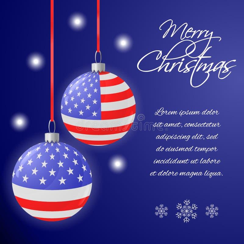 Cartolina d'auguri o insegna del quadrato con le palle di Natale della bandiera degli Stati Uniti Fondo blu con il posto per il v illustrazione di stock