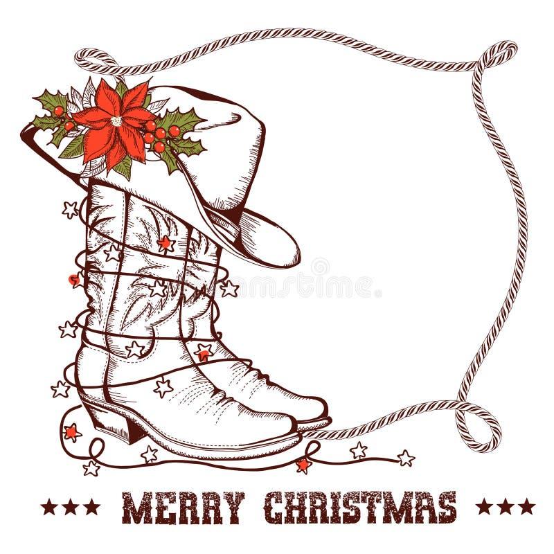 Cartolina d'auguri occidentale di Natale con gli stivali tradizionali del cowboy illustrazione di stock