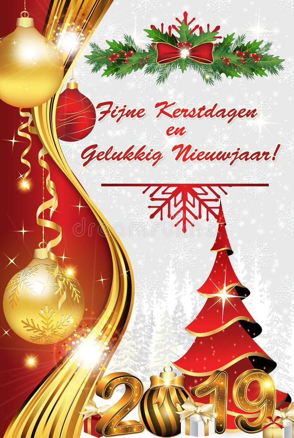 Cartolina d'auguri olandese rossa e d'argento del buon anno e di Buon Natale - royalty illustrazione gratis