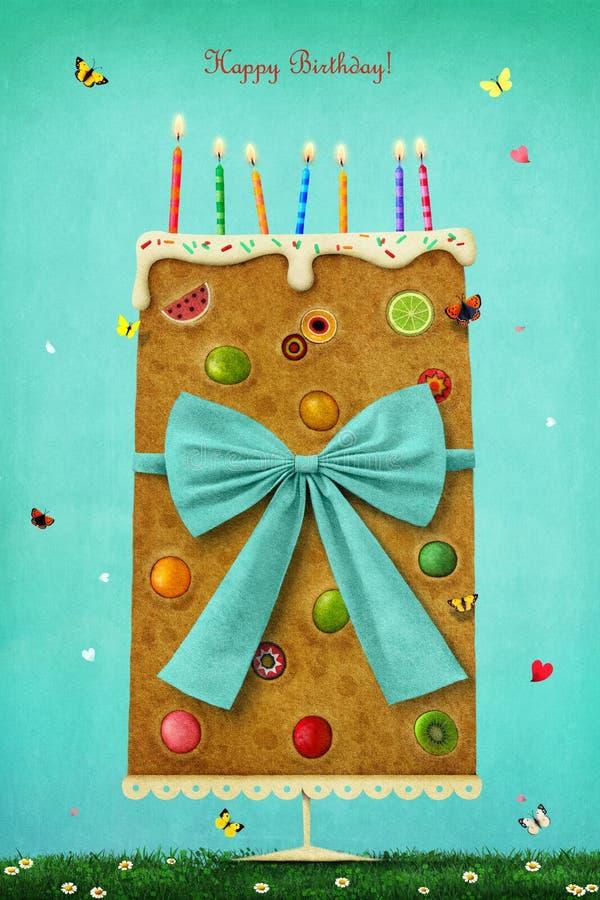 Cartolina d'auguri per il compleanno illustrazione vettoriale