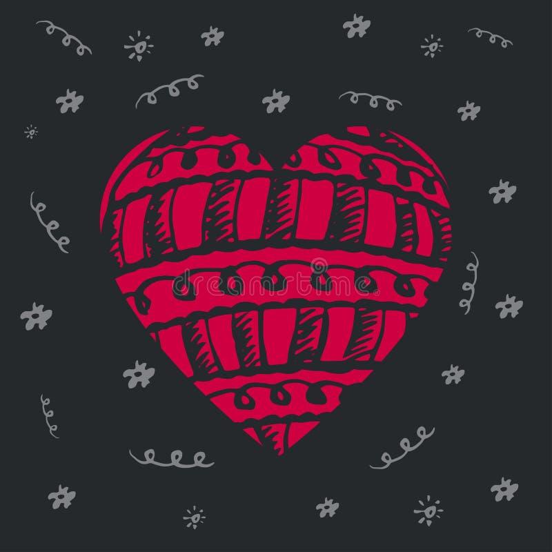 Cartolina d'auguri per il giorno del ` s del biglietto di S. Valentino o il giorno del cuore del mondo Disegnato a mano illustrazione di stock