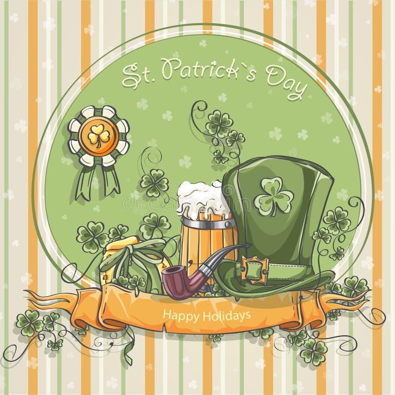 Cartolina d'auguri per il giorno della st Patrick illustrazione di stock