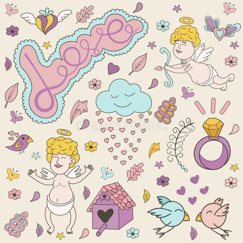 Cartolina d'auguri per il giorno di biglietti di S. Valentino con gli angeli svegli royalty illustrazione gratis