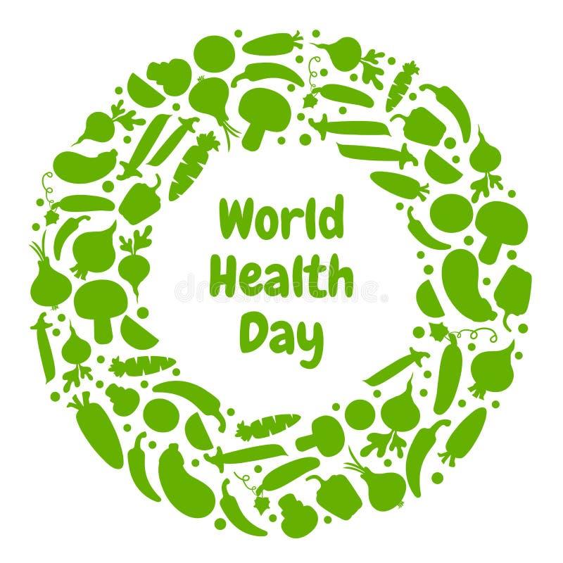 Cartolina d'auguri per il giorno di salute di mondo Vettore illustrazione di stock