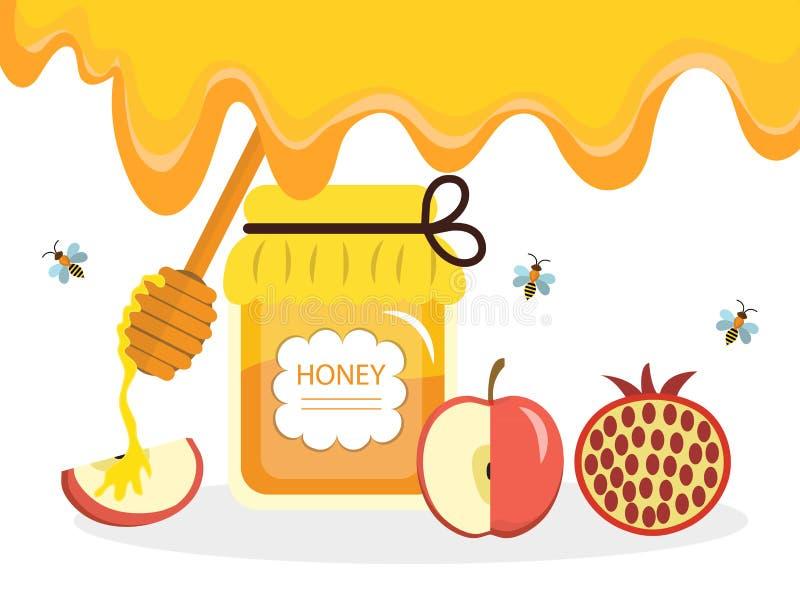 Cartolina d'auguri per il nuovo anno ebreo Rosh Hashanah, Shana Tova Cartolina d'auguri di Rosh Hashanah Miele e mele, melograni royalty illustrazione gratis