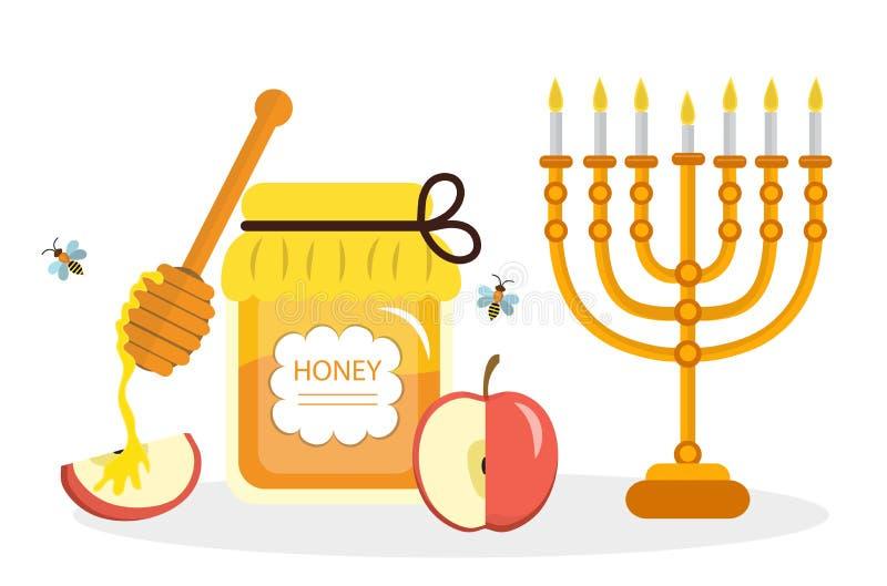 Cartolina d'auguri per il nuovo anno ebreo Rosh Hashanah, Shana Tova Cartolina d'auguri di Rosh Hashanah Miele e mele, menorah illustrazione di stock