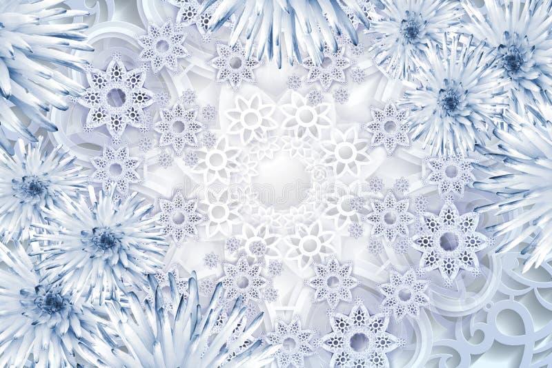 Cartolina d'auguri per il nuovo anno Fiocchi di neve blu su una priorità bassa bianca Fondo floreale di Natale royalty illustrazione gratis